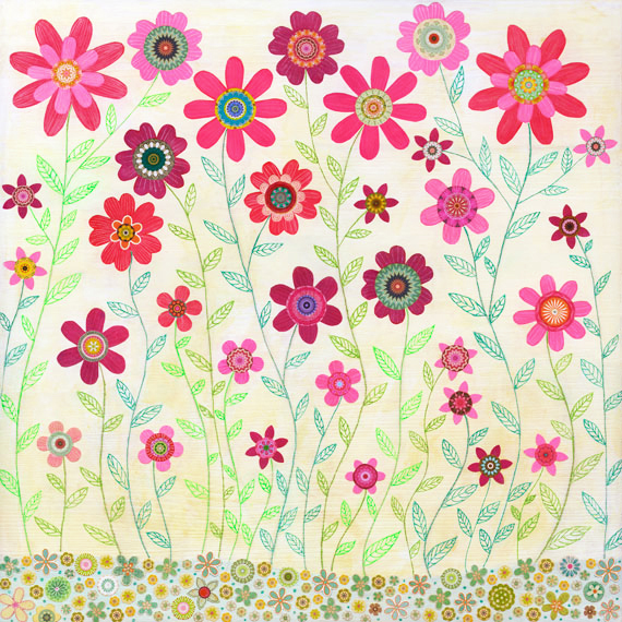 Art Print - Pink Retro Flowers