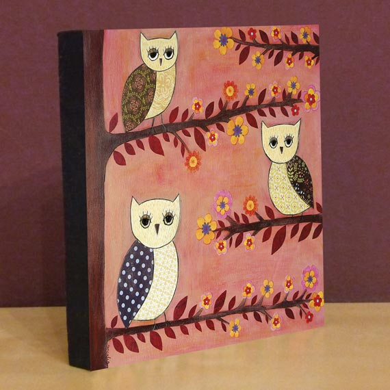 Small Art Block Print Three Wise Owls