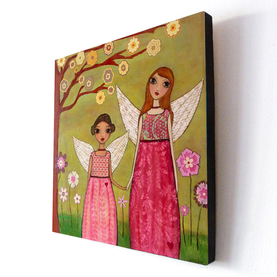 Large Wood Block Print Sister Friendship Painting - Sisters
