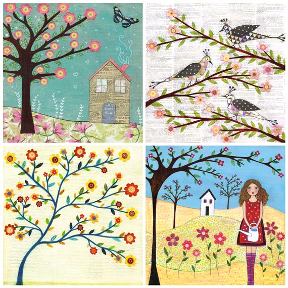 Art Print Set 5&quot; by 5&quot; - Flowers,Birds and Houses
